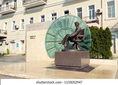 Baku, Azerbaijan, June 29, 2017. Monument to Nikola Tesla