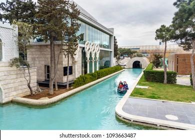Baku, Azerbaijan - March 10, 2018: Little Venice water park on Baku Boulevard in springtime