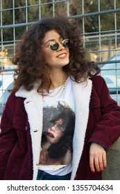 Baku, Azerbaijan - March 16, 2019: Fashionably dressed woman on the street