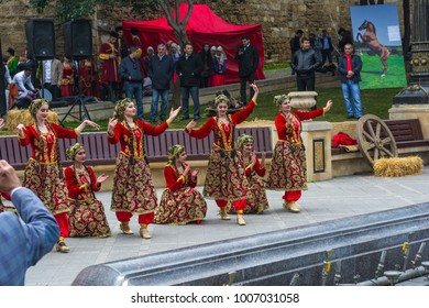 Baku, Azerbaijan, March 21, 2017. Artists performance at the Novruz holiday in the old town