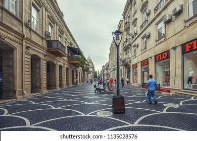 Baku, Azerbaijan, May 03, 2018. People walking on Nizami street