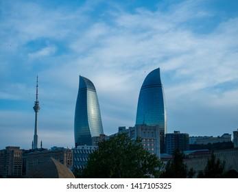 Baku, Azerbaijan - May 06 2019 : View of the Flame towers on the Old City, Baku, Azerbaijan.