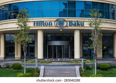 BAKU, AZERBAIJAN - May 10 2015: View of Hilton Hotel in Baku on May 10 2015. Baku will host the 2015 European Games.