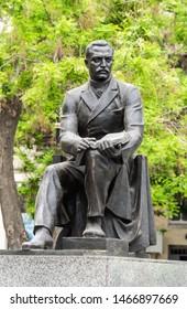 Baku, Azerbaijan - May 11, 2019. Monument to Mirza Fatali Akhundov, Azerbaijani author, playwright, ultra-nationalist, philosopher, and  founder of Azerbaijanin modern literary criticism.