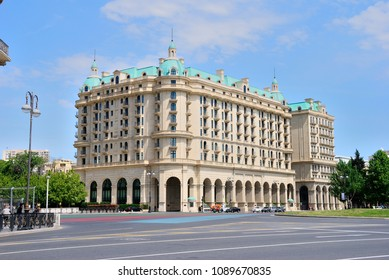 Baku, Azerbaijan - May 13, 2018 - Four Seasons Hotel in Baku on the SOCAR (Azneft) Circle