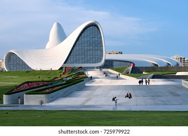 Baku, Azerbaijan - May 19, 2017 : Heydar Aliyev Centre building complex designed by Iraqi-British architect Zaha Hadid. The Center houses a conference hall (auditorium), a gallery hall and a museum.