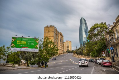BAKU, AZERBAIJAN - MAY 2017: BAKU, AZERBAIJAN - MAY 2017: The Flame Towers in Baku, Azerbaijan