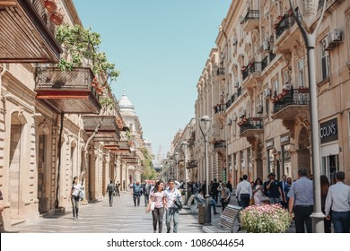 Baku, Azerbaijan - May, 2018: Nizami Street is a large pedestrian and shopping street in downtown Baku in Azerbaijan, named after classical poet Nizami Ganjavi.
