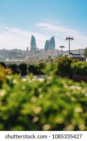 Baku, Azerbaijan - May, 2018: Baku skyline view with blue sky and green plants