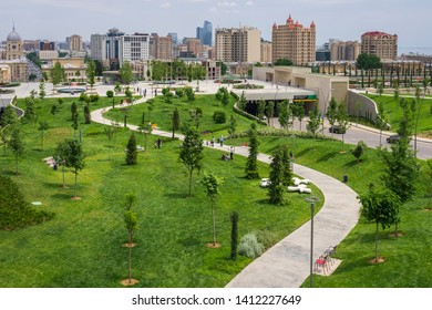 Baku, Azerbaijan, may 2019: The view of the Central park in Baku city. New park areal in Baku.