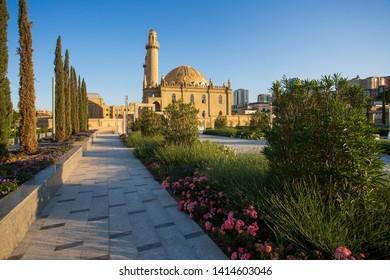 Baku, Azerbaijan, may 2019: View of Tezepir mosque from Central park Baku