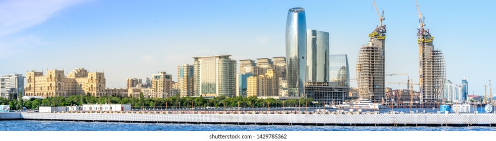 Baku, Azerbaijan - May 22, 2019: Azerbaijan, Baku City panorama skyline and caspian sea. panoramic shot.