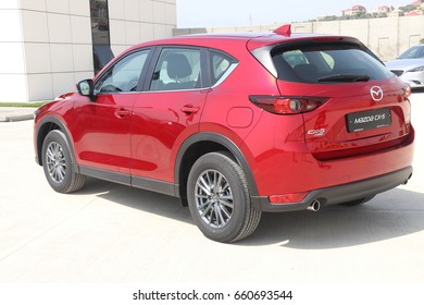 Baku, Azerbaijan - May 27, 2017: sneak preview and test-drive of second generation restyled Mazda CX-5 crossover SUV with an overhauled design and new tech