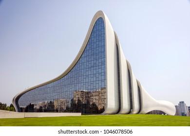 BAKU, AZERBAIJAN - MAY 27: Heydar Aliyev center, famous architectural landmark building in Baku by Zaha Hadid. May 2017