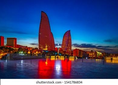 BAKU, AZERBAIJAN - MAY 6, 2019: Famous and Beautiful evening view of skyscrapers. Baku City international business center. Flame towers at evening.