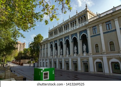 BAKU, AZERBAIJAN - MAY 7, 2019: Front view of the Nizami Museum of Azerbaijani Literature in Baku. It contains great scientific researches, published books and monographs.