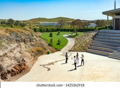 Baku, Azerbaijan - May 9, 2019: people visit Yanardag (Burning Mountains) in Baku, Azerbaijan.