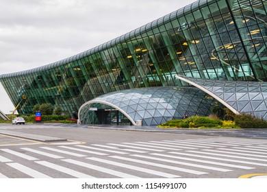 BAKU, AZERBAIJAN - NOVEMBER 14, 2016: Front view of an Heydar Aliyev Airport in Baku, Azerbaijan - the main airport in the capital.