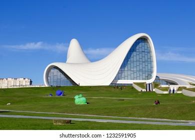 BAKU, AZERBAIJAN - NOVEMBER 2018: Heydar Aliyev Center museum in Baku, Futuristic architecture of Zaha Hadid architect. Modern cultural center which became a new symbol of Baku.