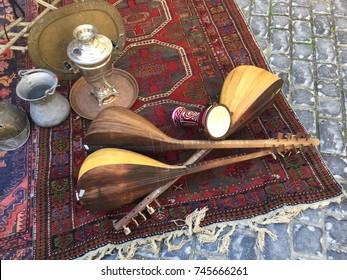 BAKU, AZERBAIJAN - November 5, 2016: Icheri Sheher (Old Town) of Baku. Street tourist shop with souvenirs for sale, Baku, Azerbaijan