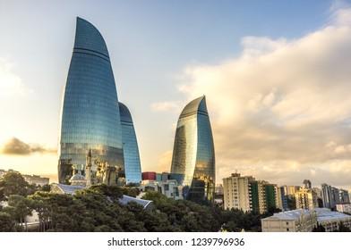 Baku, Azerbaijan - Oct 11th 2018 - The famous Flames towers in the capital of Azerbaijan, Baku in a late sunset