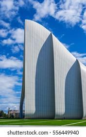 Baku, Azerbaijan - October 10, 2016: Heydar Aliyev Center Museum in Baku, Azerbaijan autumn time. Cosmic architecture of Zaha Hadid architect. Modern cultural center, which became a new symbol of Baku