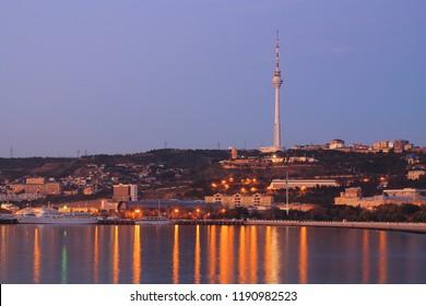 BAKU, AZERBAIJAN - October 18, 2012. Baku bay on sunrise.