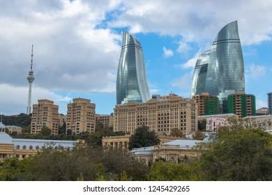 Baku, Azerbaijan - October 2018. Flame Towers - the highest building in Azerbaijan located in Baku. Highest building Baku Flame tower. Flame towers in the cityscape.