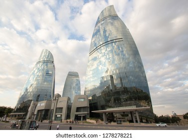 Baku, Azerbaijan – September   12, 2016:  picture for the flame tower hotel building, the biggest   building in the Azerbaijani capital Baku, and some buildings.
