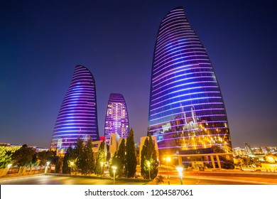 BAKU, AZERBAIJAN - SEPTEMBER 13, 2016: Baku Flame Towers is the tallest skyscraper in Baku, Azerbaijan with a height of 190 m. The buildings consist of apartments, a hotel and office blocks.