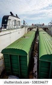 BAKU, AZERBAIJAN - SEPTEMBER 15: train loaded on the cargo vessel on the Caspian sea. September 2016