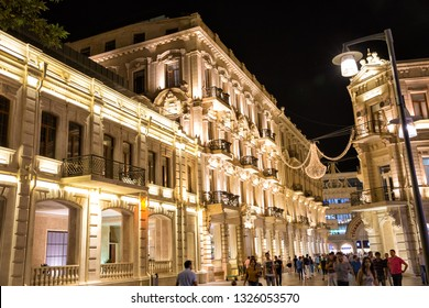 Baku, Azerbaijan - September 22, 2018: Nizami Street with bright night illumination. Shopping center of Baku