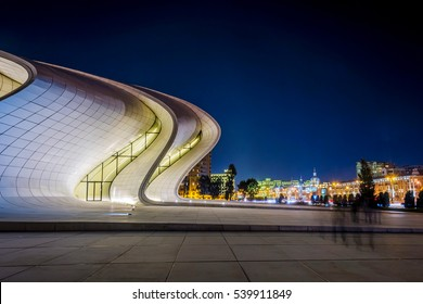 BAKU, AZERBAIJAN - SEPTEMBER 22: Heydar Aliyev center at night designed by Zaha Hadid. Center houses a conference hall, a gallery and a museum. September 2016