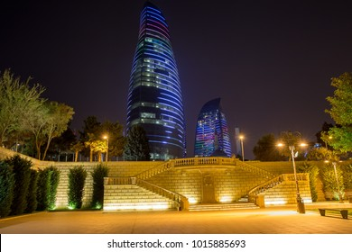 Baku, Azerbaijan - September 23, 2017: Night view of the Flame Towers. Flame Towers are new skyscrapers in Baku