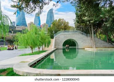 Baku, Azerbaijan, September 23, 2018: a small Venetian Waterpark at the Baku Boulevard.