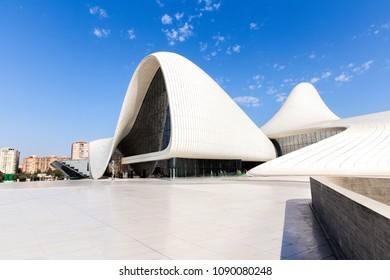 Baku, Azerbaijan - September 24, 2017: View of the Heydar Aliyev Center. Heydar Aliyev Center won the Design Museum's Designs of the Year Award in 2014