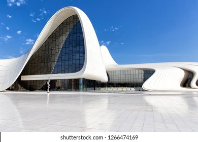 Baku, Azerbaijan - September 24, 2018: View of the Heydar Aliyev Center in Baku. Republic of Azerbaijan