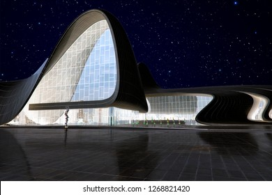 Baku, Azerbaijan - September 24, 2018: Night view of the Heydar Aliyev Center in Baku. Republic of Azerbaijan