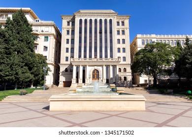 Baku, Azerbaijan - September 26, 2018: The building of the executive authority of the city of Baku. Republic of Azerbaijan