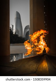 BAKU / Azerbaijan - September 3 2016: Baku Azerbaijan Flame Towers from Flame Of Hope eternal flame memorial at Freedom Square Alley of Martyrs
