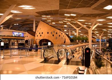 BAKU, AZERBAIJAN - SEPTEMBER 5, 2017: Heydar Aliyev International Airport from the inside