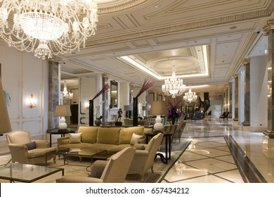Baku, Azerbaijan-January 2016. Lobby of luxury hotel.Four Season Hotel.