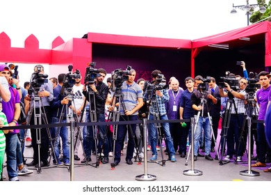 Baku, Azerbaijan-may 17, 2016: Professional TV videographers and photographers with video cameras and cameras film the conference