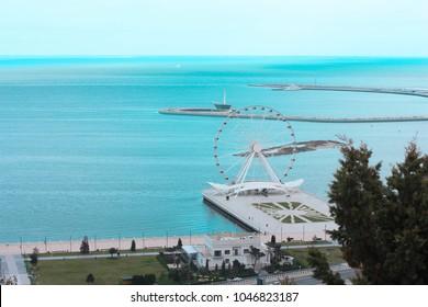 Baku. Capital of Azerbaijan. City of winds. Caspian Sea. Beautiful coast. Blue sky and sea.