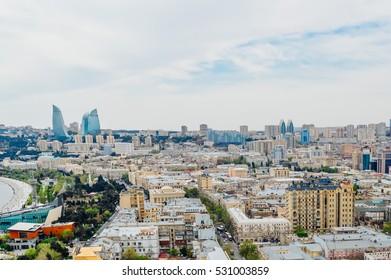 Baku cityscape with Towers view in Baku, Azerbaijan