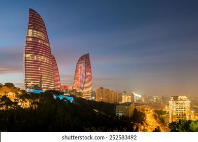 Baku - February 3 , 2015: Flame Towers on February 3 in Azerbaijan, Baku. Flame Towers are new skyscrapers in Baku, Azerbaijan