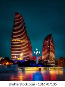 Baku Flame Towers and Old Town, Azerbaijan, taken in January 2019