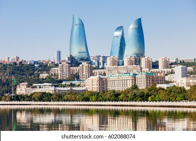 Baku Flame Towers is the tallest skyscraper in Baku, Azerbaijan with a height of 190 m. The buildings consist of apartments, a hotel and office blocks.