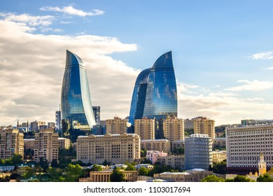 Baku, Flame Towers - trio of skyscrapers including the tallest in the country. One of the most iconic buildings of Azerbaijan