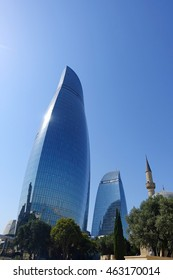 BAKU JULY 21, 2016. A near shot of the famous flaming towers skyscrapers on a sunny day, in Baku, on July 21st, 2016.